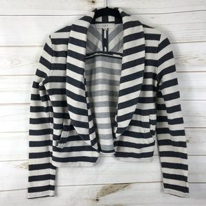 [Loft] Gray Cream Striped Cotton Blazer